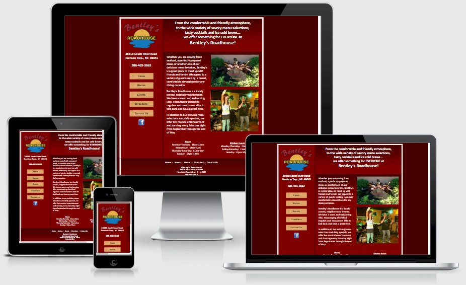 Bentley's Roadhouse Restaurant Website Design Portfolio