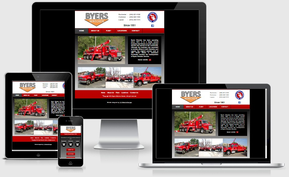 Byers Wrecker Towing Website Design