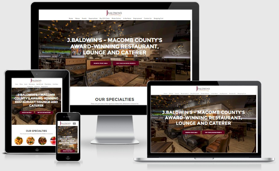 J.Baldwin's Restaurant Website Design Portfolio