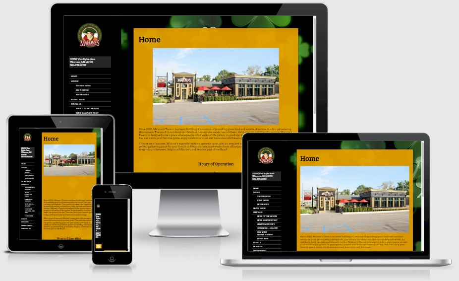 Malones Tavern Bar Website Design