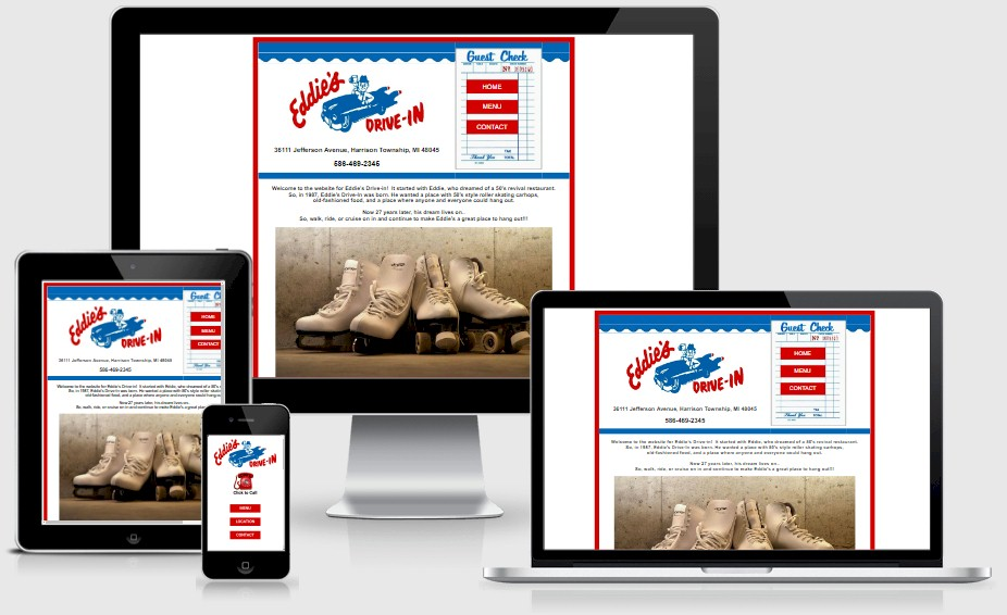 Eddies Drive In Website Design