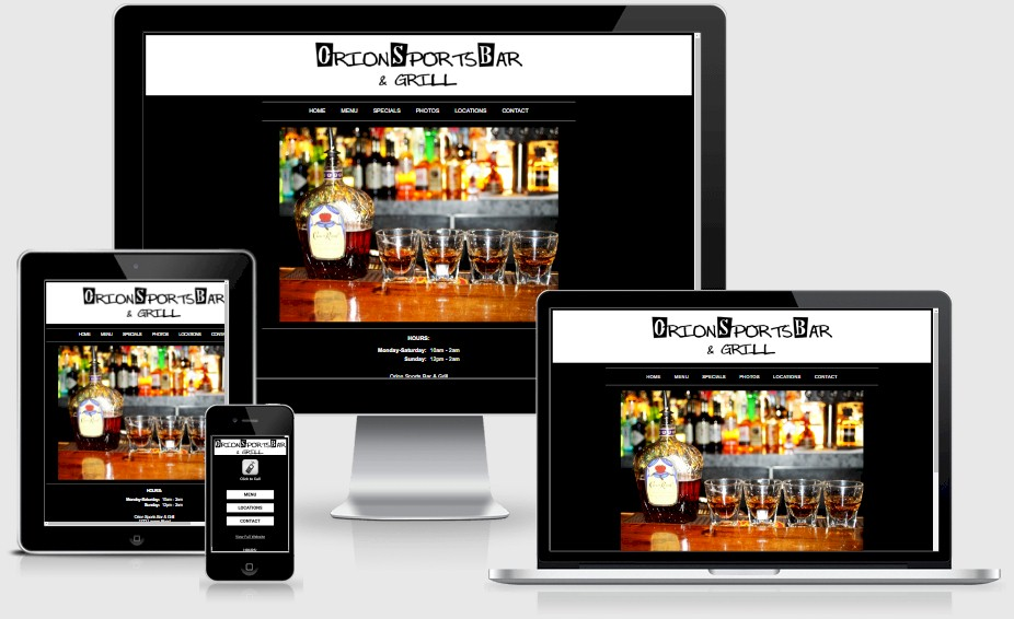 Orion Sports Bar and Grill Restaurant Website Design Portfolio