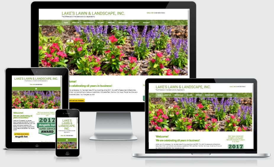 Lakes Lawn and Landscape Website Design
