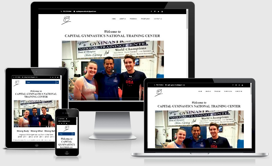 Capital Gymnastics National Training Center Website Design Portfolio